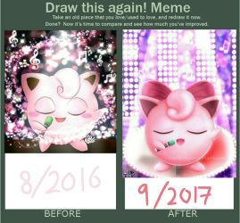 Draw This Again Meme: Jigglypuff (2016 vs 2017) by SNO7ART