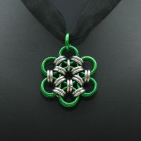 Green Japanese Flower Pendant by Utopia-Armoury