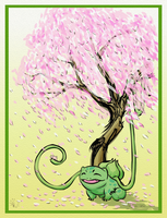 Bulbasaur and Cherry Blossoms by Ayemae