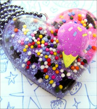 Sugar and Stars Resin Necklace by elephont