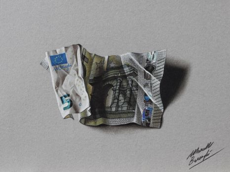 5 euro note DRAWING by Marcello Barenghi by marcellobarenghi