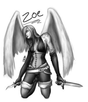 Zoe -Aasimar Rogue by turtlegirlman