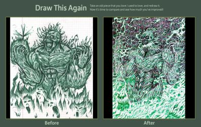 Draw This Again Contest: Green Flames Demon by ForeverZeroDragon