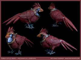 Three Little Birds, Cardinal by emilySculpts