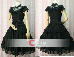 Stand Collar Lace Bowtie Gothic Lolita Dress by wendywei2012