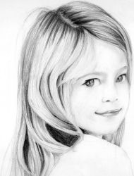 Portrait pencil drawing of a young girl by neeshma