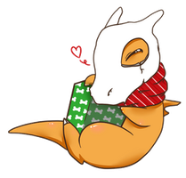 Cubone Free to Use Holiday/BDay Card by CloverWing