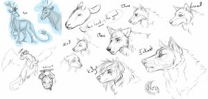 Sketches of Elendris characters by Neawana