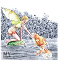 Fairy and goldfish by Akoustam5