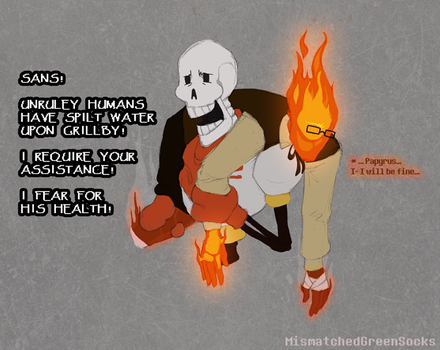 Grillby and Water Do Not Mix by MismatchedGreenSocks