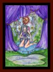 Girl Unicorn Horses Stained Glass Purple Green by StephanieSmall