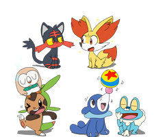 Gen 6 Starters meet Gen 7 Starters by sp19047