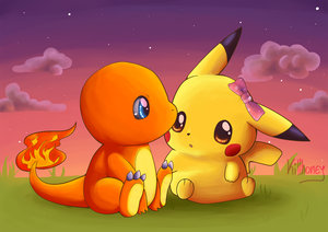 Commision: Pikachu and Charmander by AndrewKi
