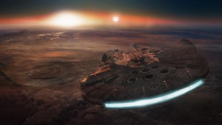 Millennium Falcon Over Tatooine by Pandazoic