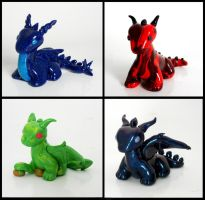 Dragon figurines by MadPonyScientist