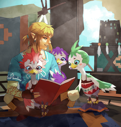 Reading with Rito Children by Bev-Nap