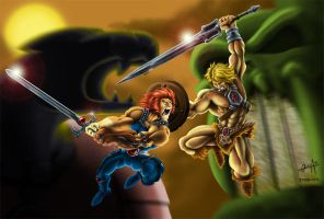 Lion-O vs He-man colored by mistermoster