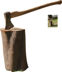 axe on a tree trunk precut png stock by Nexu4