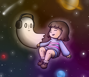Napstablook and Frisk are One with the Cosmos by ShakeablePanda