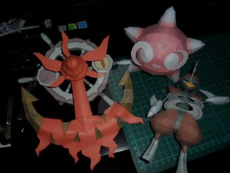 Dhelmise, Minior and Bisharp papercrafts by Maryuu7