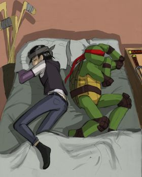 Casey, Raph and sleepover by NeatTea