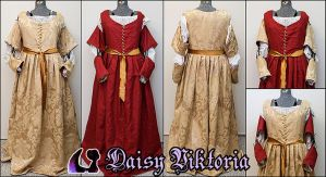 Red and Gold Italian Renaissance Gown by DaisyViktoria