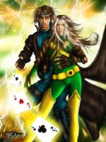 Gambit and Rogue by IgnisSerpentus