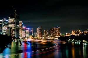 Night lights and Boat Trails by Footomch