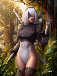 Nier Automata: 2B in the Forest - Fan art by Kircell-Art