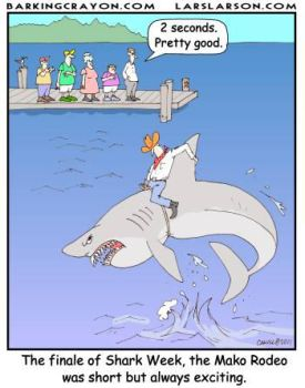 Shark Rodeo cartoon by AtomicCheese