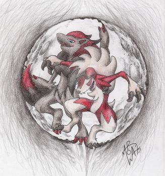 Lugarugan and Zoroark, werewolves and the moon by MAR0WAK