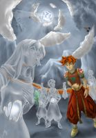 Terranigma: Crystal statues by Ark-souzou