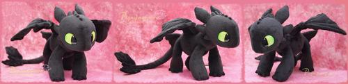 Young Toothless  - Handamde plushie by Piquipauparro