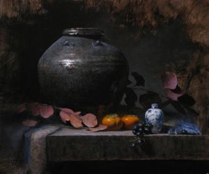 Persimmons and Cobalt by Jeff Legg OPAM by OilPaintersofAmerica