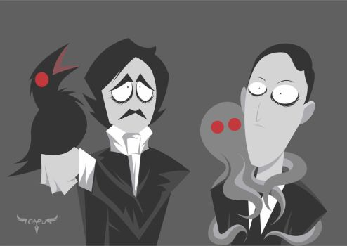 Poe and Lovecraft by elchavoman