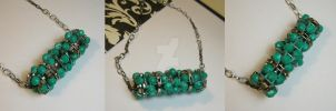 The Teal Line - Beaded Bobbin Necklace by DanielleDucrest