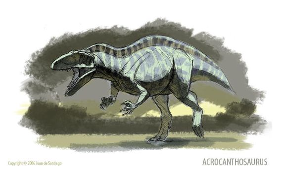 Acrocanthosaurus Sketch by Red-Dilopho