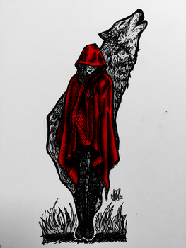 Red Riding Hood/Spirit of the wolf (Colored) by MetallicPrincessRa