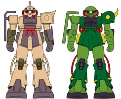 MS-06D,G Zaku II variants by ironscythe