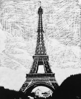 Scratchboard: La Tour Eiffel by DentistChicken