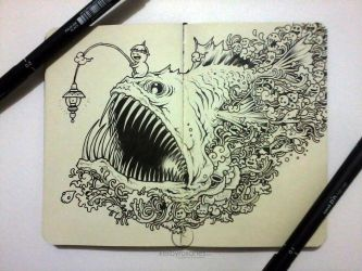 MOLESKINE DOODLES: Angry Angler by kerbyrosanes