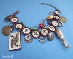 Steampunk Typewriter Key Charm Bracelet by tursiart