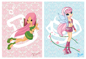 Chibi Fairy: Rana and Rose by fiorei
