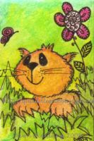 Kitty   ATC 17 by Quaddles-Roost