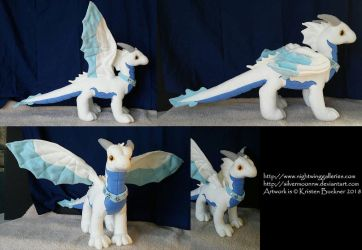 Winter Dragon Custom Plush by silvermoonnw
