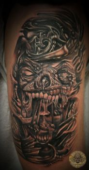 3 cover up skull face tat by 2Face-Tattoo