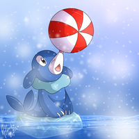Popplio on ice by Haruka-15