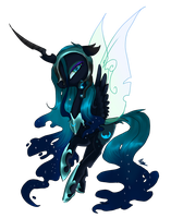 Cryla Eclipse(Nightmare moon and chrysalis fusion) by nutty-stardragon