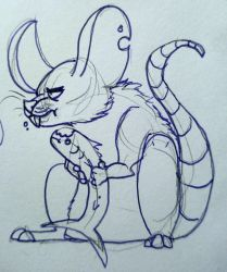 rat and fish by Emthedragoneye