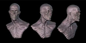 Zombie head turnaround by MatthewLambert